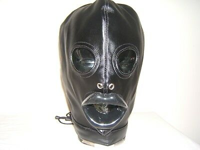 Black leather Gimp mask with Latex sissy lips in Red, Black or Pink Size M 5