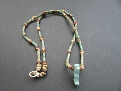 NILE  Ancient Egyptian Thoth Amulet Mummy Bead Necklace ca 600 BC 2
