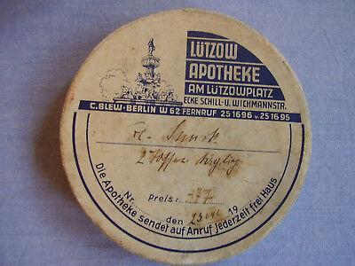 Alte Apotheker Schachtel Packung Lützow Apotheke Am Lützowplatz C.Blew Berlin 2