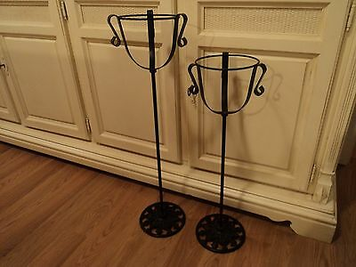 2 Matching Antique Wrought Iron Metal Plant Stands CAST LEAF vtg victorian RARE 4