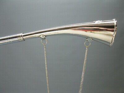 Silbern  Stethoskop Hörrohr Hearing Pipe Hörmaschine Ear Trumpet 23 cm mit Kette 10