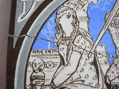 ANTIQUE MINTON - MOYR SMITH - TENNYSON'S IDYLLS OF THE KING TILE - GERAINT c1876 3