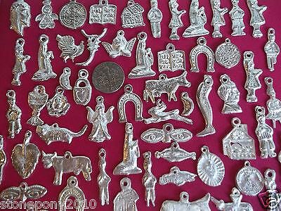 100 SILVER Mexican Folk Art Milagros Charms Exvoto Nicho Retablo Charms Lot #3 4