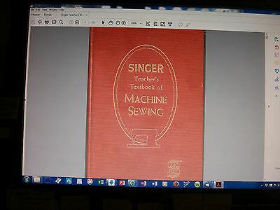 SINGER Teacher's Textbook of Machine Sewing 1957-on CD (PDF file) FREE SHIPPING! 10