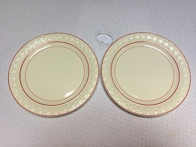 """Vintage Taylor Smith & Taylor Red Striped Art Deco 9"""" Luncheon Plates (2) 2"""