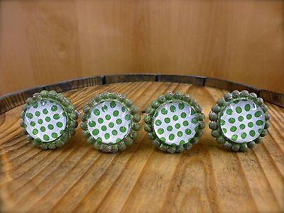 4 GREEN SUN FLOWER GLASS DRAWER CABINET PULLS KNOBS VINTAGE chic garden hardware 2