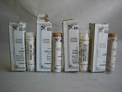 RARE bottles Humphreys Homeopathic Medicine Lot of 4 5