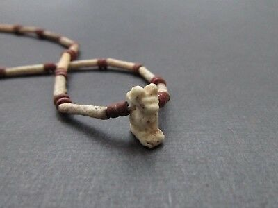 NILE  Ancient Egyptian Cat Amulet Mummy Bead Necklace ca 600 BC 3