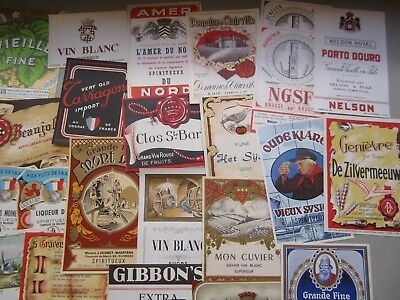 Lot of 70 Old 1930/'s-1950/'s European WINE /& LIQUOR LABELS All Different