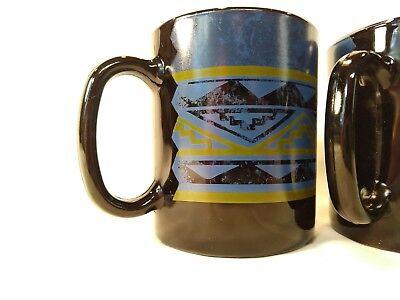 Set of 2 Arcoroc France Black Yucatan Coffee Mug Blue Southwest Aztec Design 2