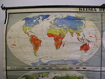 Schulwandkarte schöne alte Weltkarte Klimakarte Climate 248x154cm vintage ~1960 3