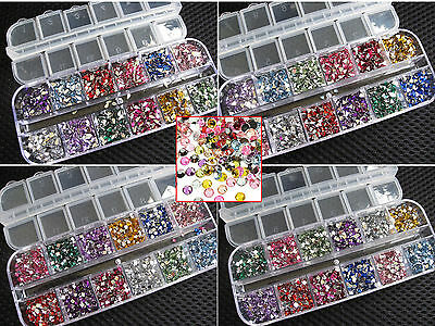 3600 Pcs Rhinestones Nail Art Case Assorted Designs for Acrylic Tips UV Gel Deco 2