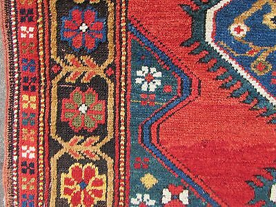 Antique Traditional Hand Made Caucasian Rug Red Green Wool Oriental Rug 142x99cm 9