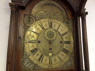 """Fine Walnut 3 Train Musical Long case Clock C.1730. Unrestored 12"""" dial. 4"""
