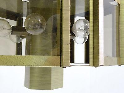 VINTAGE 70's MODERNIST FREDERICK RAMOND BRASS HEXAGONAL LIGHT CHANDELIER 10