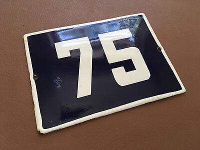 ANTIQUE VINTAGE ENAMEL SIGN HOUSE NUMBER 75 BLUE DOOR GATE STREET SIGN 1950's