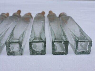 2 x alte kleine Medizin Glas Apotheke Apotheker Flasche grün lang ca. 9,5 cm 5
