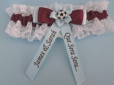 Personalised Brides Wedding Garter in Aston Villa Colours