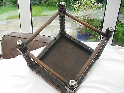 186) Vintage Welsh Blanket Covered Foot Stoole From 1940's 3