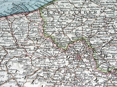 1896 Antique Original Map Of Northern France Luxembourg Lorraine Alsace Picardy 3