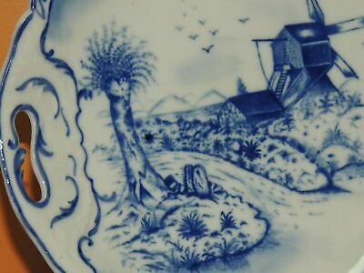 "Hand Painted 10"" Plate w/ Handles Delft? Blue & White Windmill Antique Vintage 4"