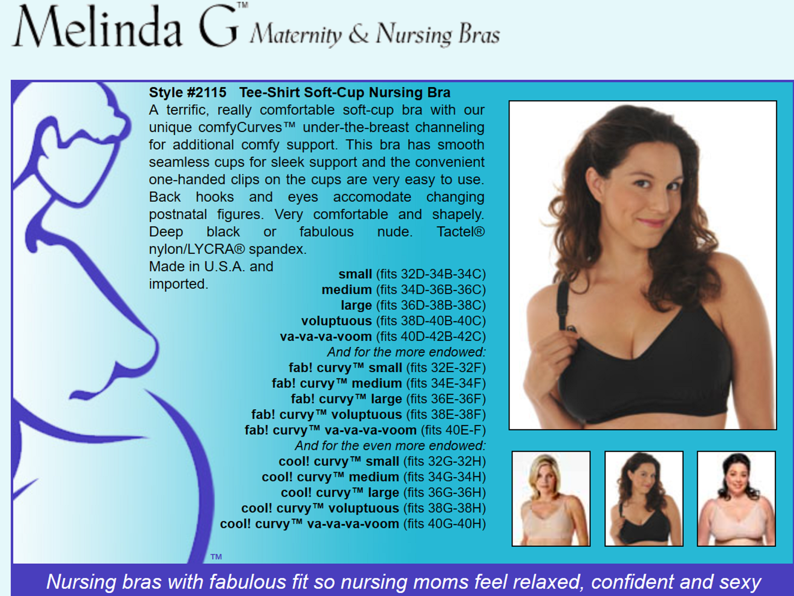 91827cde44d Melinda G Tee-Shirt Soft-Cup Nursing Bra 2115 Black Cool Curvy Voluptous 2  2 of 2 See More