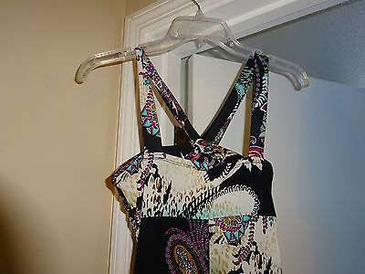 MOA MOA Black with Floral multi color Polyester Size Small Sundress Sun Dress 3