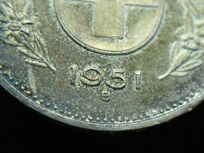1951 B Swiss 5 Francs Silver Coin - Lovely & Orig. Toning 2