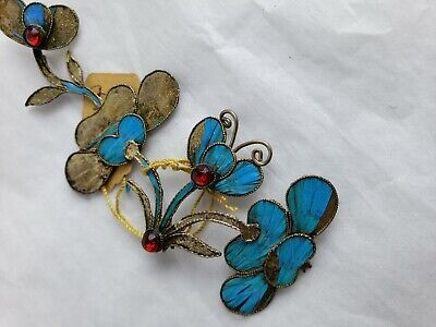 Antique Chinese blue Kingfisher feather hair stick pin ornament 6