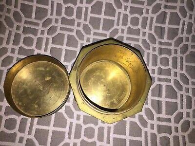 Antique Asian Brass Enameled Lidded Canister Jar 9