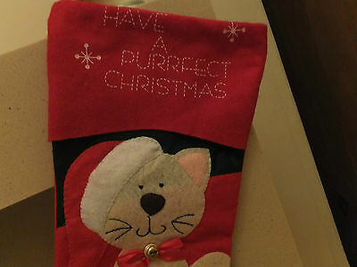 Cat Christmas Stocking Have A Purrfect Christmas  Cac 07 7