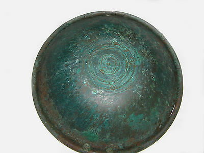 "ANTIQUE BRONZE ROMAN / BYZANTINE / THRACIAN BOWL 16"" in diameter (41 cm) ~LARGE~ 4"