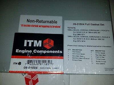 Toyota 8RC /& 18RC 1969-1974 Complete Engine Gasket Set with all seals