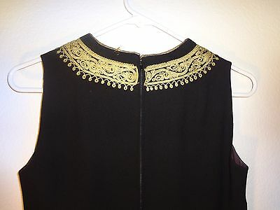 Rare Antique Mid- Eastern Kaftan Wool Dress Hand Embroidered With Golden Thread