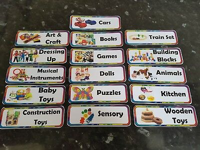 16 toy box labels childcare display labels toys 9cm x 3cm childminder nursery 2