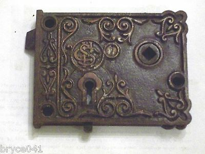 Antique Corbin Very Ornate Rim Lock With Slide Bolt #40 2