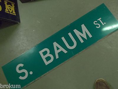 "Large Original S. Baum St Street Sign 48"" X 12"" White Lettering On Green"