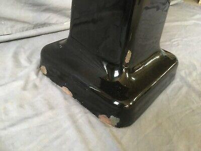 "Antique 24"" Cast Iron Black Porcelain Bath Pedestal Sink Old Vtg Crane 234-19E 4"