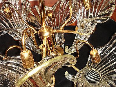 Murano Glass Chandelier Cornucopia Vintage Hollywood Regency Style 6