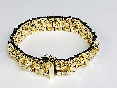 f0832dc712b5a 14K SOLID YELLOW Gold Men's Nugget Bracelet 16.5 mm HEAVY 95 grams 7