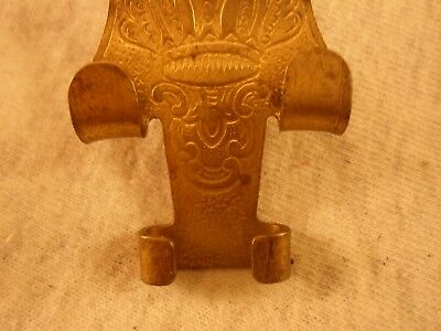 antique brass picture rail hanger, embossed crown design! 4