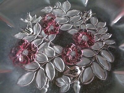Large pink frosted glass plate with floral and leaf design in base very pretty 2