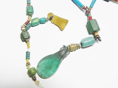 Zurqieh - Q61- Ancient Egypt. Strand Of Faience, Glass And Gold Amulets. 300 B.c 8