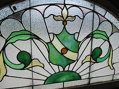 ~ ANTIQUE AMERICAN STAINED GLASS WINDOW 50.5 x 25 ~ ARCHITECTURAL SALVAGE ~ 4