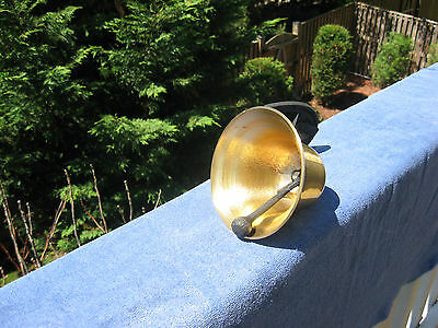 Vintage Brass Dinner/Farm Bell With Horseshoe Mount~Made In Japan 7