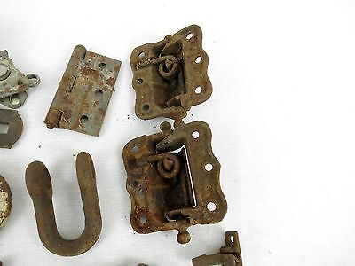 Lot of Antique Architectural Salvage Hooks Door Hardware Hinges casters wheels 9