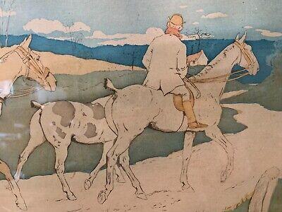 Francés Antiguo Art Nouveau Enmarcado Firmado Hombre Caballo a Caza / Play Polo 5