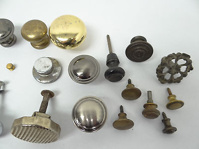 Antique & Vintage Used Old Mystery Metal Brass Drawer Pulls Hardware Round Knobs 4