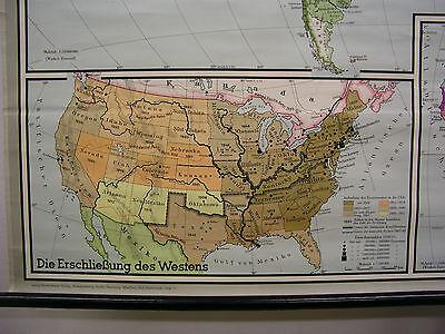 Schulwandkarte schöne alte Weltkarte 1783-1914 202x133cm vintage world map 1970 2