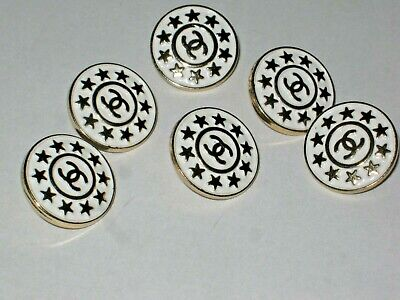 Chanel  buttons  set of 6 sz 18mm lot of 6 WHITE GOLD STARS CC LOGO 2
